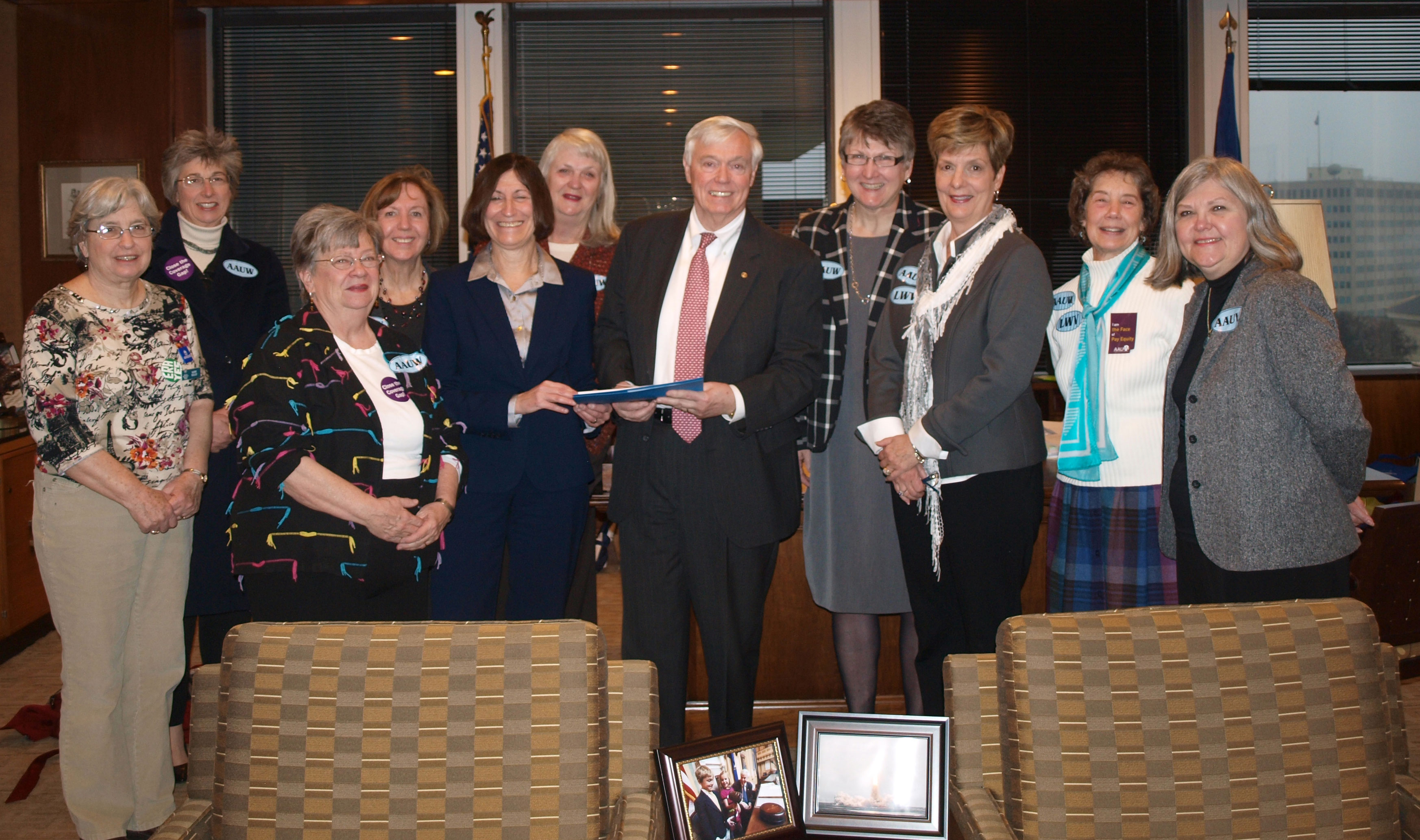 Speaker of the Virginia House of Delegates William J. Howell receives our Equal Pay Petition for the House.