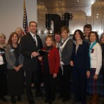 Lieutenant Governor and President of the Virginia Senate Ralph Northam receives our Equal Pay Petition for the Senate.